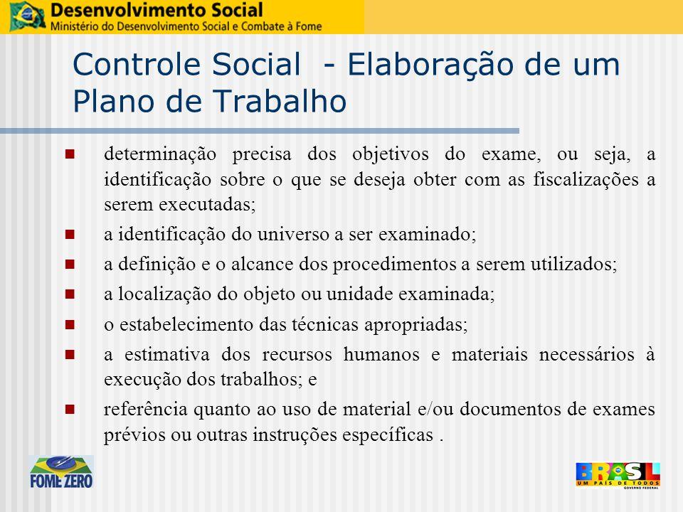 Controle Social - Elaboração de um Plano de Trabalho determinação precisa dos objetivos do exame, ou seja, a identificação sobre o que se deseja obter