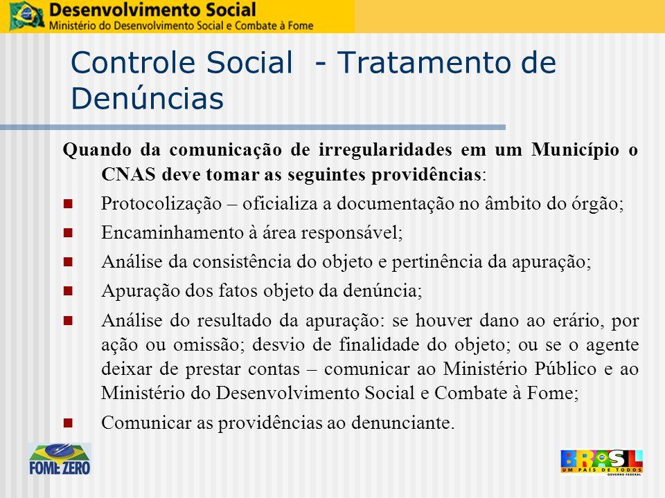 Controle Social - Tratamento de Denúncias Quando da comunicação de irregularidades em um Município o CNAS deve tomar as seguintes providências: Protoc