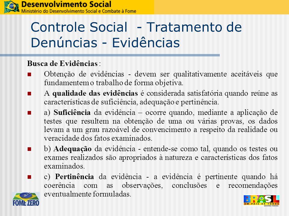 Controle Social - Tratamento de Denúncias - Evidências Busca de Evidências : Obtenção de evidências ‑ devem ser qualitativamente aceitáveis que fundamentem o trabalho de forma objetiva.