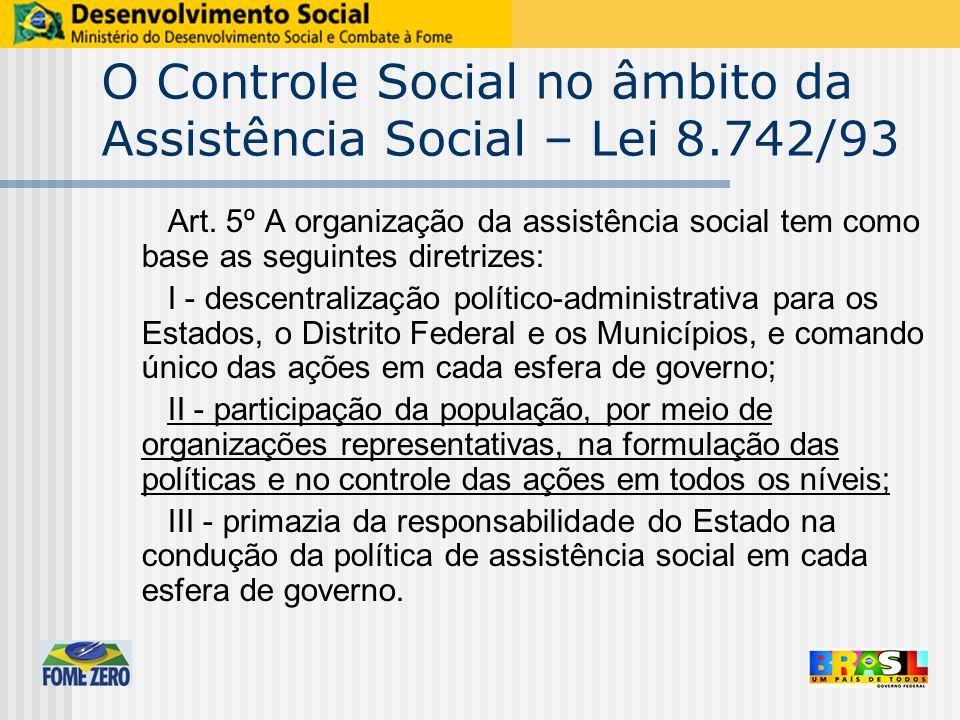 O Controle Social no âmbito da Assistência Social – Lei 8.742/93 Art. 5º A organização da assistência social tem como base as seguintes diretrizes: I