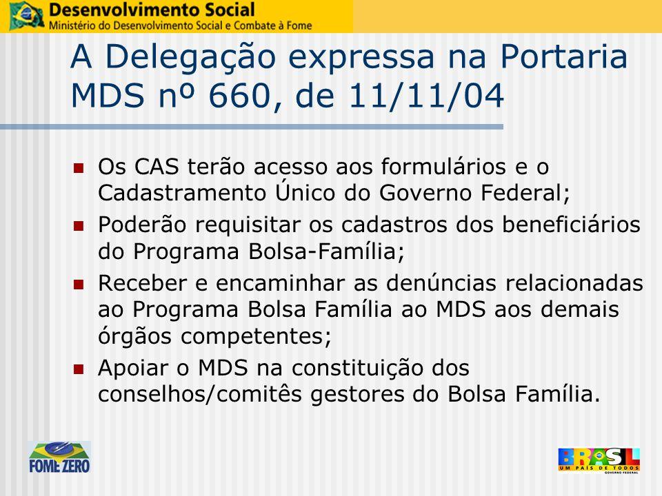 A Delegação expressa na Portaria MDS nº 660, de 11/11/04 Os CAS terão acesso aos formulários e o Cadastramento Único do Governo Federal; Poderão requi