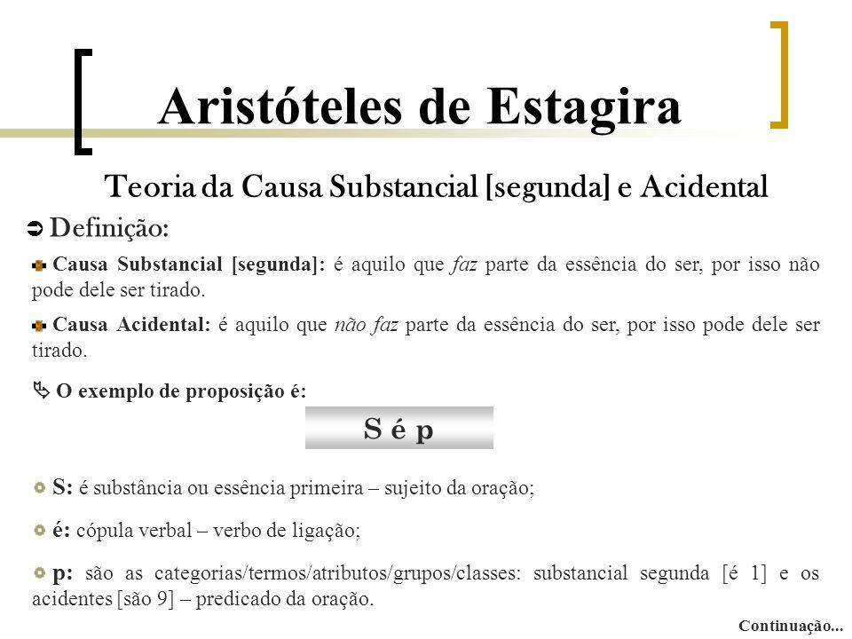 Aristóteles de Estagira Teoria da Causa Substancial [segunda] e Acidental  Definição: Causa Substancial [segunda]: é aquilo que faz parte da essência do ser, por isso não pode dele ser tirado.