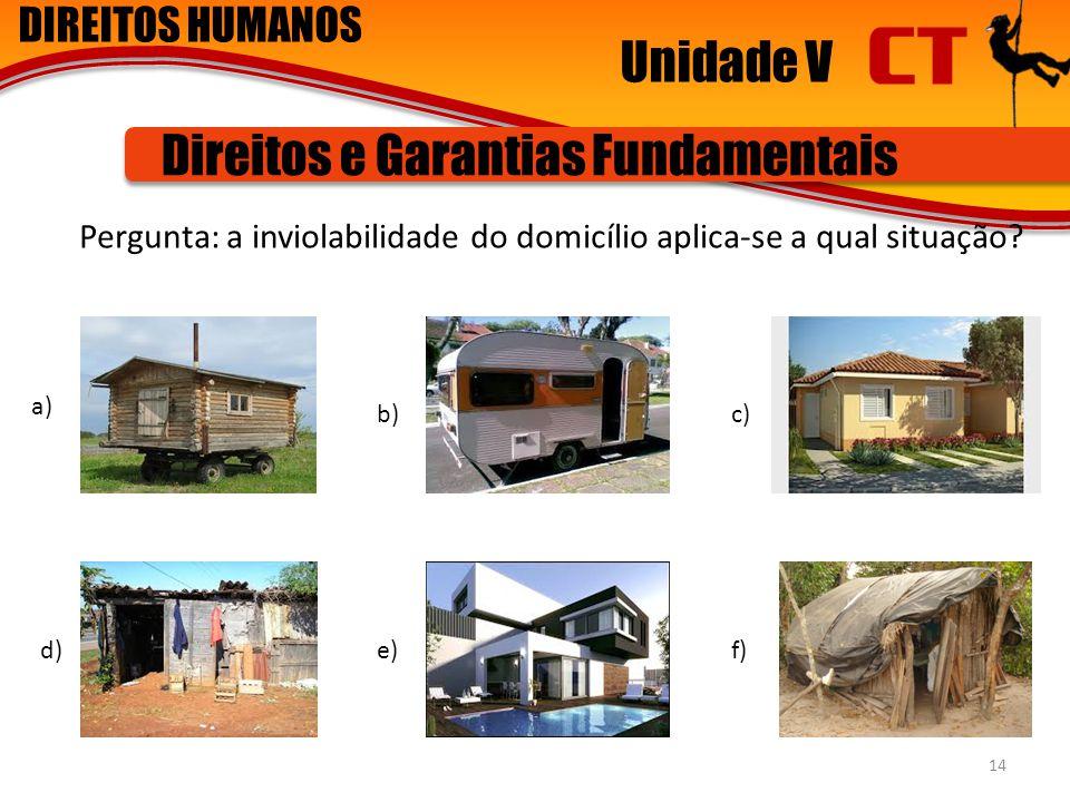 DIREITOS HUMANOS Unidade V Direitos e Garantias Fundamentais Pergunta: a inviolabilidade do domicílio aplica-se a qual situação? 14 a) b)c) d)e)f)