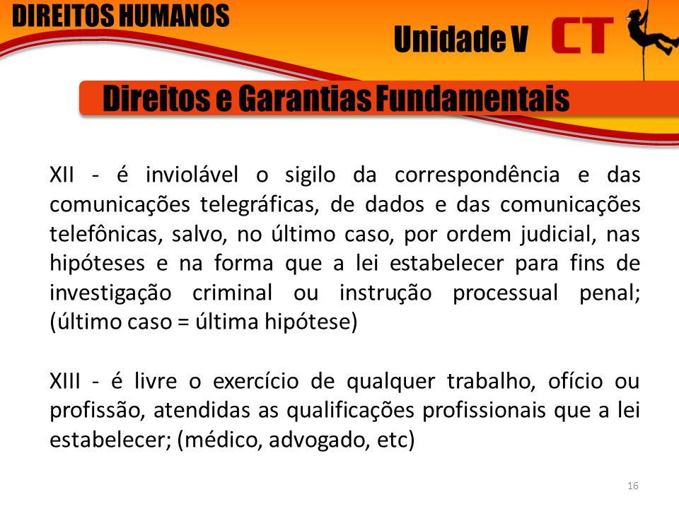 DIREITOS HUMANOS Unidade V Direitos e Garantias Fundamentais XII - é inviolável o sigilo da correspondência e das comunicações telegráficas, de dados