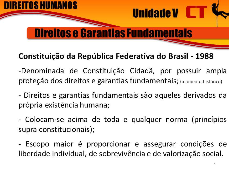 DIREITOS HUMANOS Unidade V Direitos e Garantias Fundamentais Constituição da República Federativa do Brasil - 1988 -Denominada de Constituição Cidadã,