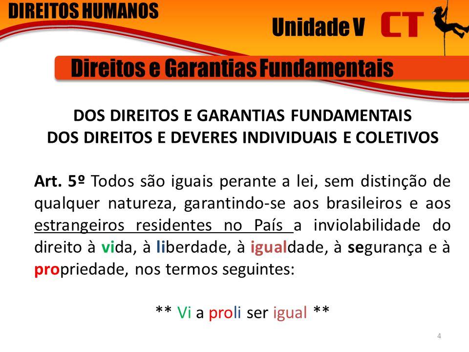 DIREITOS HUMANOS Unidade V Direitos e Garantias Fundamentais DOS DIREITOS E GARANTIAS FUNDAMENTAIS DOS DIREITOS E DEVERES INDIVIDUAIS E COLETIVOS Art.