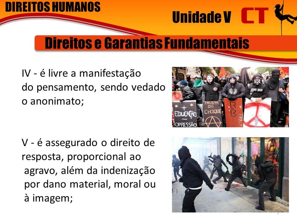 DIREITOS HUMANOS Unidade V Direitos e Garantias Fundamentais IV - é livre a manifestação do pensamento, sendo vedado o anonimato; V - é assegurado o d