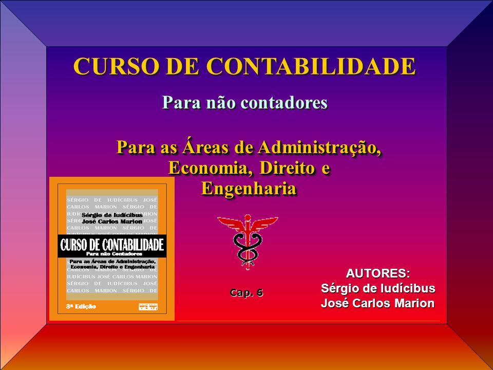 Cap 06 Prof. José Carlos Marion e Sérgio Iudícibus AUTORES: Sérgio de Iudícibus José Carlos Marion CURSO DE CONTABILIDADE Para não contadores Para as