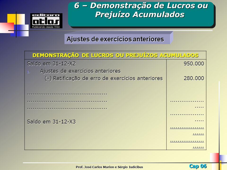 Cap 06 Prof. José Carlos Marion e Sérgio Iudícibus Ajustes de exercícios anteriores DEMONSTRAÇÃO DE LUCROS OU PREJUÍZOS ACUMULADOS Saldo em 31-12-X2 1