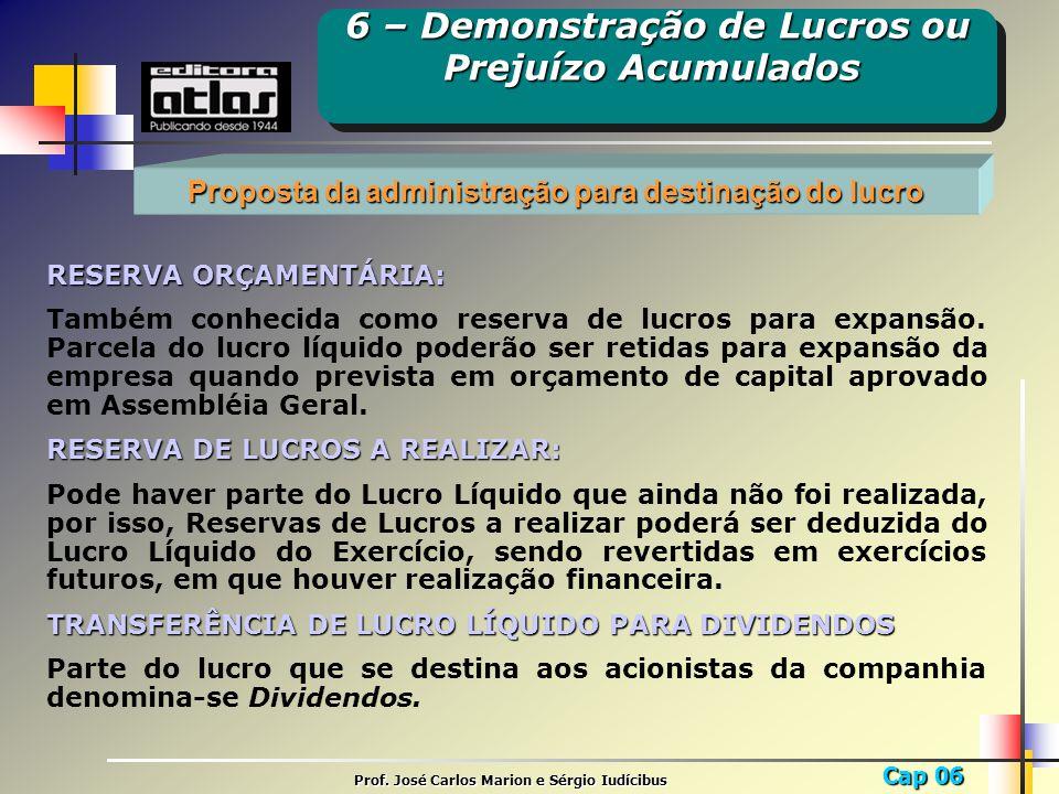 Cap 06 Prof. José Carlos Marion e Sérgio Iudícibus Proposta da administração para destinação do lucro RESERVA ORÇAMENTÁRIA: Também conhecida como rese