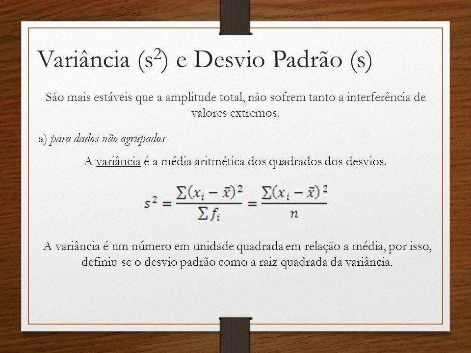 Variância (s 2 ) e Desvio Padrão (s) São mais estáveis que a amplitude total, não sofrem tanto a interferência de valores extremos.