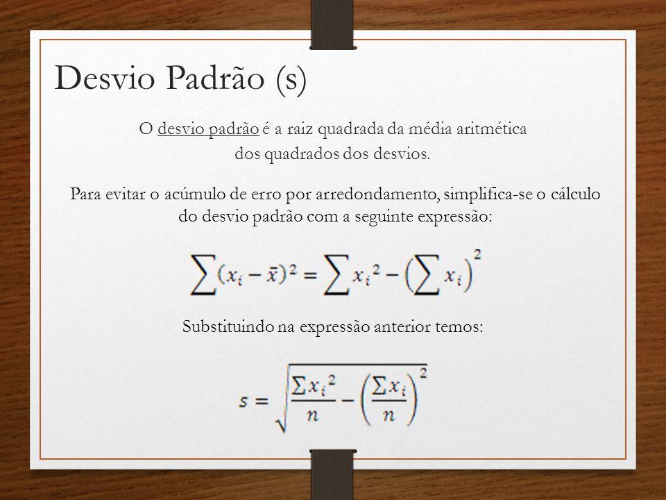 Desvio Padrão (s) O desvio padrão é a raiz quadrada da média aritmética dos quadrados dos desvios.