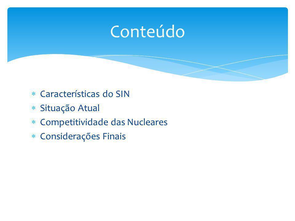  Características do SIN  Situação Atual  Competitividade das Nucleares  Considerações Finais Conteúdo