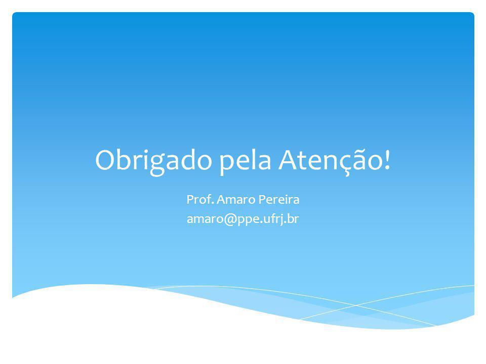 Obrigado pela Atenção! Prof. Amaro Pereira amaro@ppe.ufrj.br