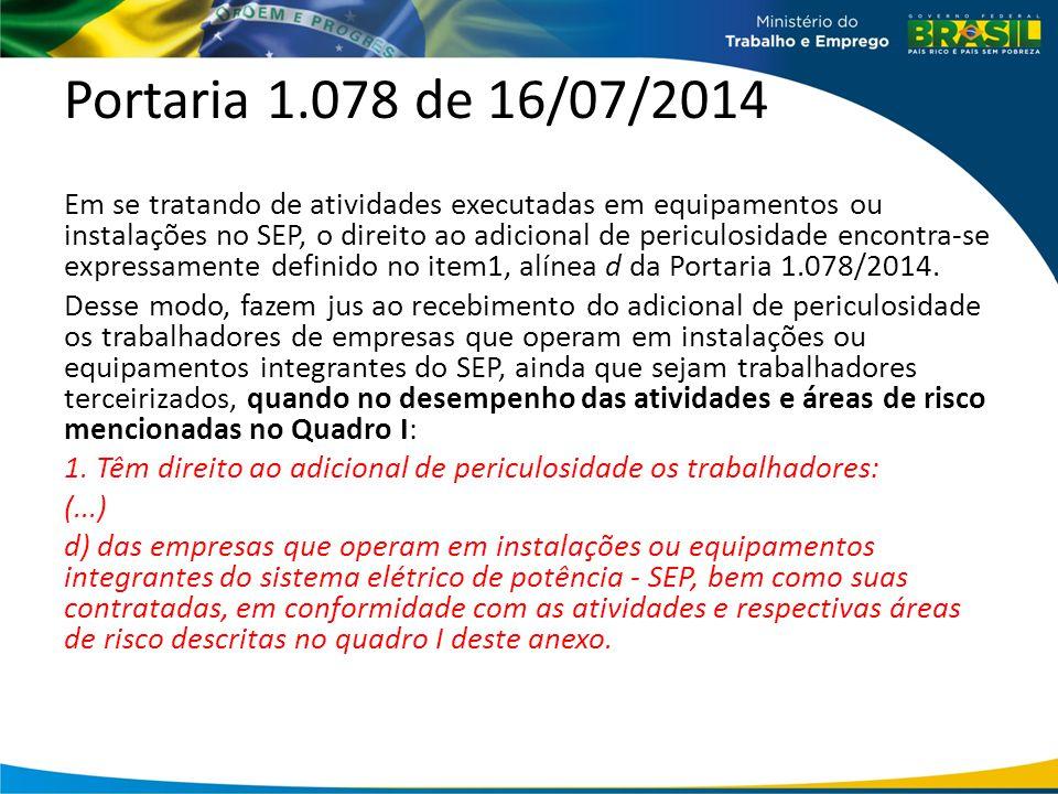 Portaria 1.078 de 16/07/2014 Em se tratando de atividades executadas em equipamentos ou instalações no SEP, o direito ao adicional de periculosidade encontra-se expressamente definido no item1, alínea d da Portaria 1.078/2014.