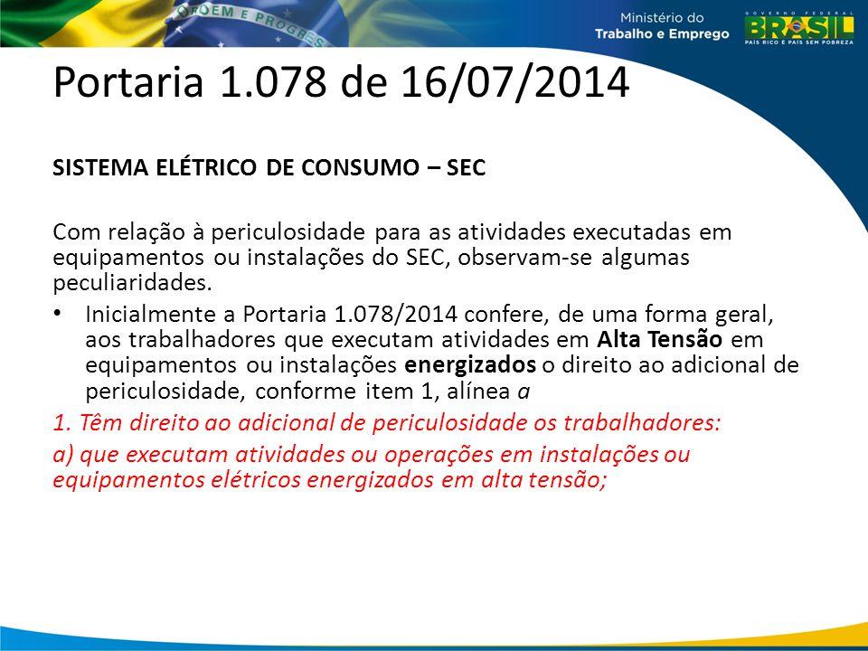 Portaria 1.078 de 16/07/2014 SISTEMA ELÉTRICO DE CONSUMO – SEC Com relação à periculosidade para as atividades executadas em equipamentos ou instalações do SEC, observam-se algumas peculiaridades.