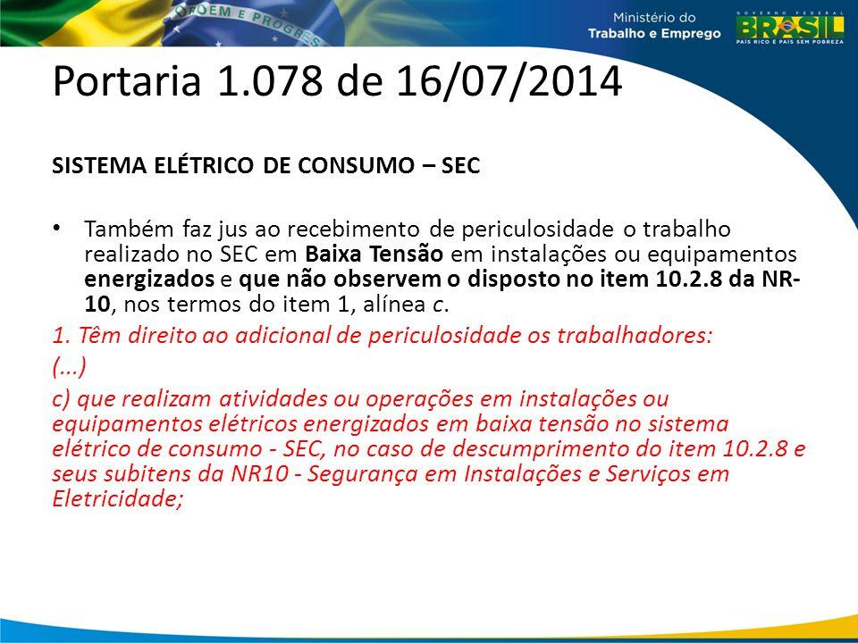 Portaria 1.078 de 16/07/2014 SISTEMA ELÉTRICO DE CONSUMO – SEC Também faz jus ao recebimento de periculosidade o trabalho realizado no SEC em Baixa Te