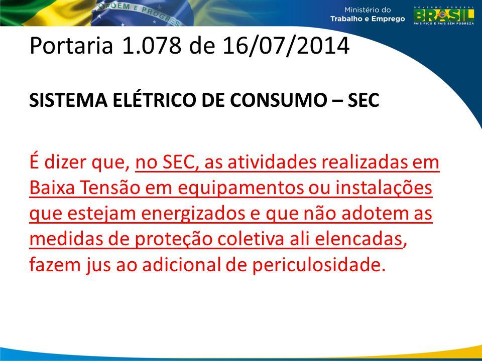 Portaria 1.078 de 16/07/2014 SISTEMA ELÉTRICO DE CONSUMO – SEC É dizer que, no SEC, as atividades realizadas em Baixa Tensão em equipamentos ou instal