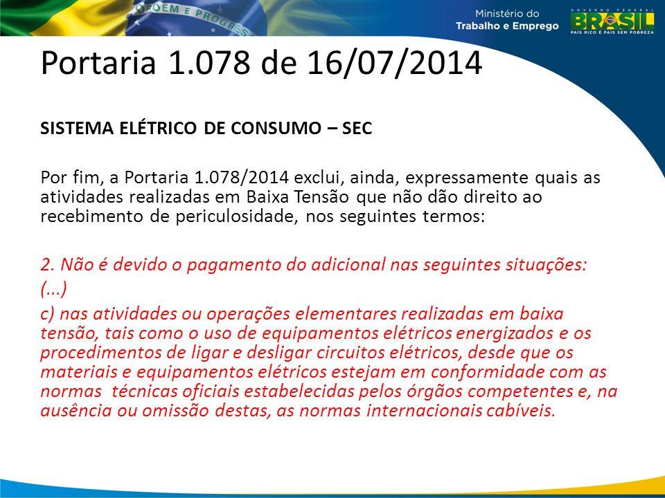 Portaria 1.078 de 16/07/2014 SISTEMA ELÉTRICO DE CONSUMO – SEC Por fim, a Portaria 1.078/2014 exclui, ainda, expressamente quais as atividades realiza