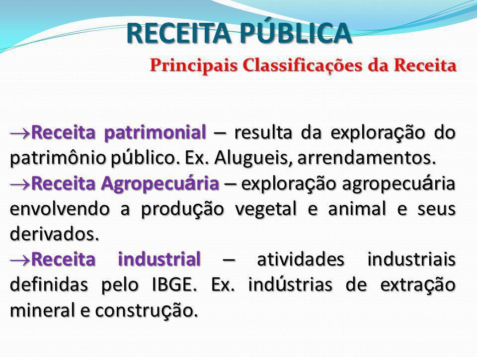 Principais Classificações da Receita RECEITA PÚBLICA  Receita patrimonial – resulta da explora ç ão do patrimônio p ú blico.