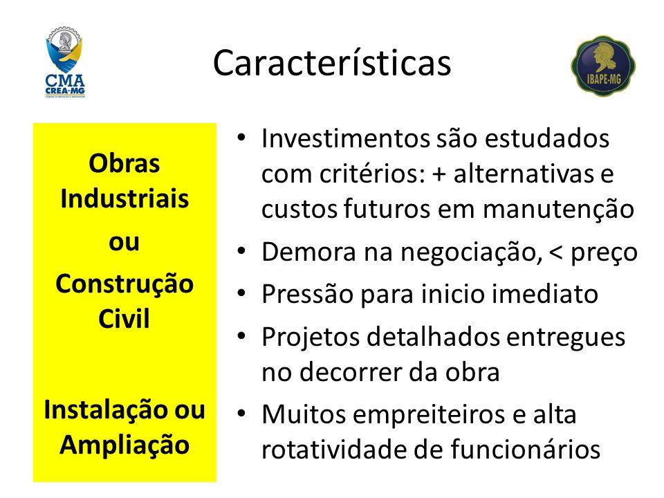 Características Obras Industriais ou Construção Civil Instalação ou Ampliação Investimentos são estudados com critérios: + alternativas e custos futur
