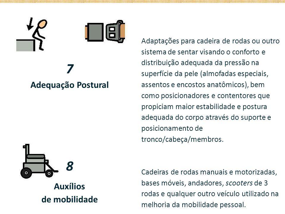 7 Adequação Postural Adaptações para cadeira de rodas ou outro sistema de sentar visando o conforto e distribuição adequada da pressão na superfície d
