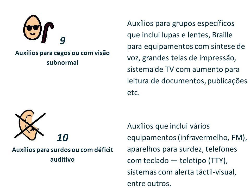 9 Auxílios para cegos ou com visão subnormal Auxílios para grupos específicos que inclui lupas e lentes, Braille para equipamentos com síntese de voz,