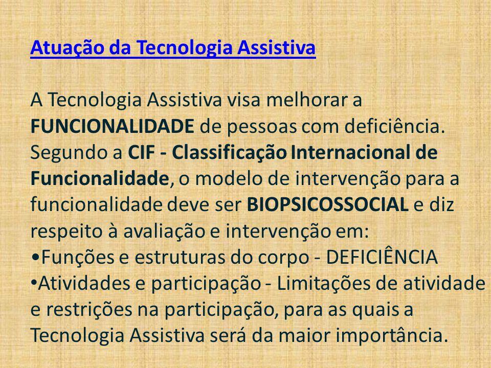 Atuação da Tecnologia Assistiva A Tecnologia Assistiva visa melhorar a FUNCIONALIDADE de pessoas com deficiência. Segundo a CIF - Classificação Intern