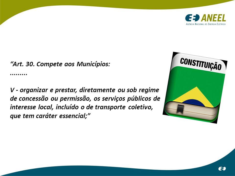 """""""Art. 30. Compete aos Municípios:......... V - organizar e prestar, diretamente ou sob regime de concessão ou permissão, os serviços públicos de inter"""