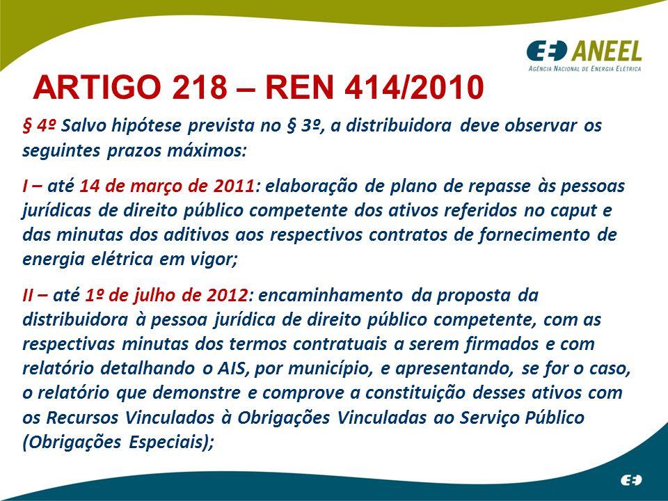 § 4º Salvo hipótese prevista no § 3º, a distribuidora deve observar os seguintes prazos máximos: I – até 14 de março de 2011: elaboração de plano de r