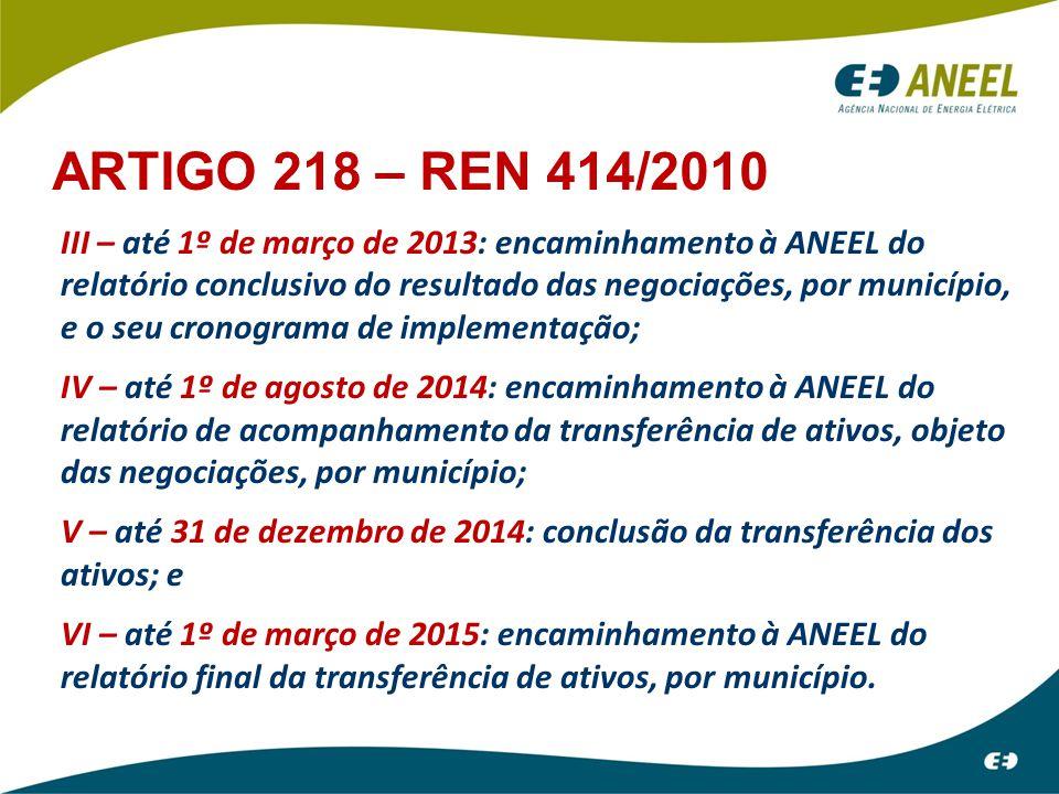III – até 1º de março de 2013: encaminhamento à ANEEL do relatório conclusivo do resultado das negociações, por município, e o seu cronograma de imple