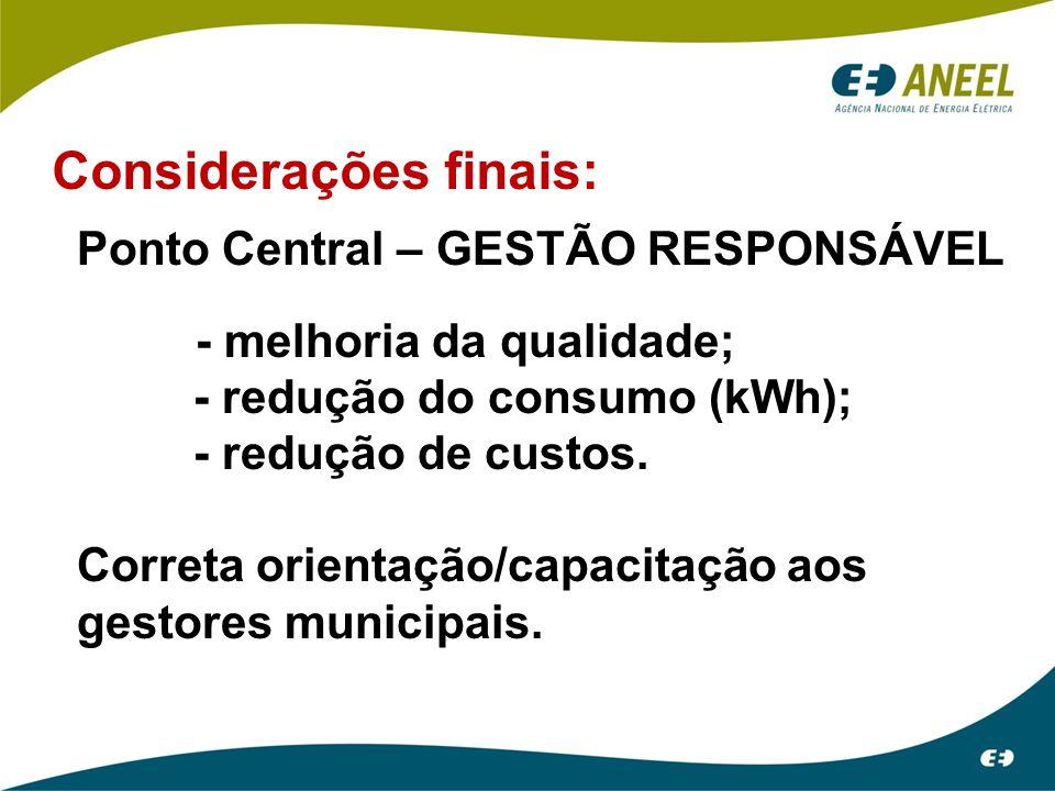Considerações finais: Ponto Central – GESTÃO RESPONSÁVEL - melhoria da qualidade; - redução do consumo (kWh); - redução de custos. Correta orientação/