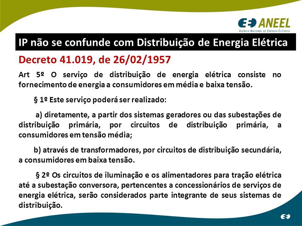 Decreto 41.019, de 26/02/1957 Art 5º O serviço de distribuição de energia elétrica consiste no fornecimento de energia a consumidores em média e baixa
