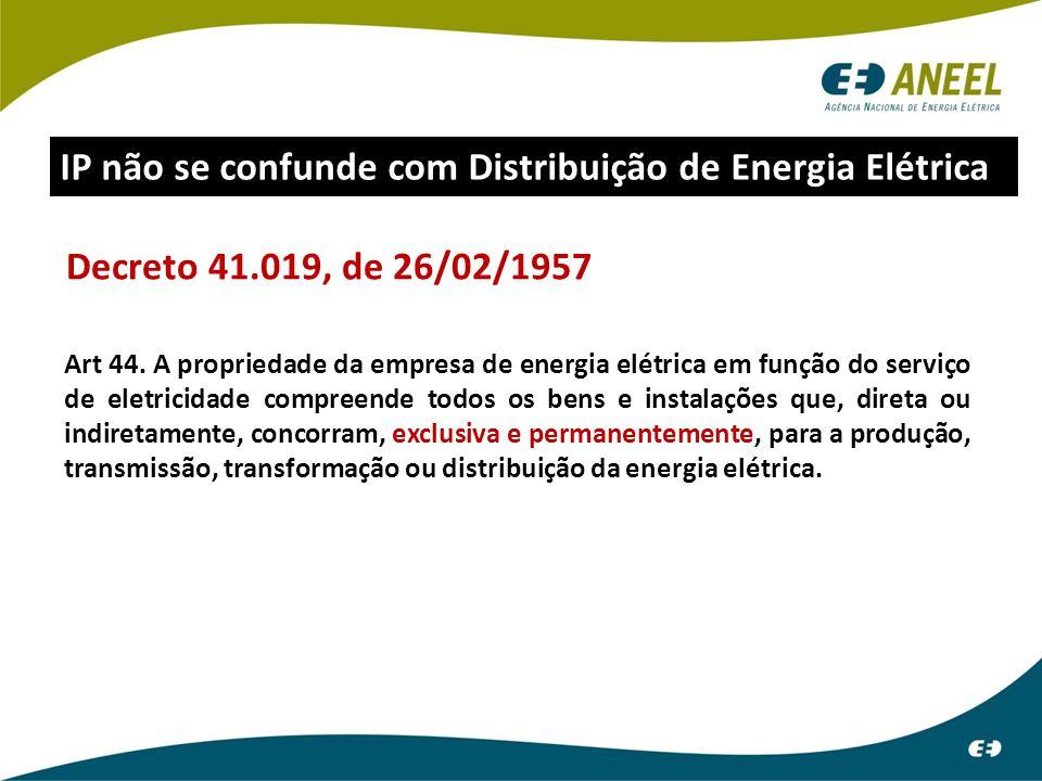 Decreto 41.019, de 26/02/1957 Art 44. A propriedade da empresa de energia elétrica em função do serviço de eletricidade compreende todos os bens e ins