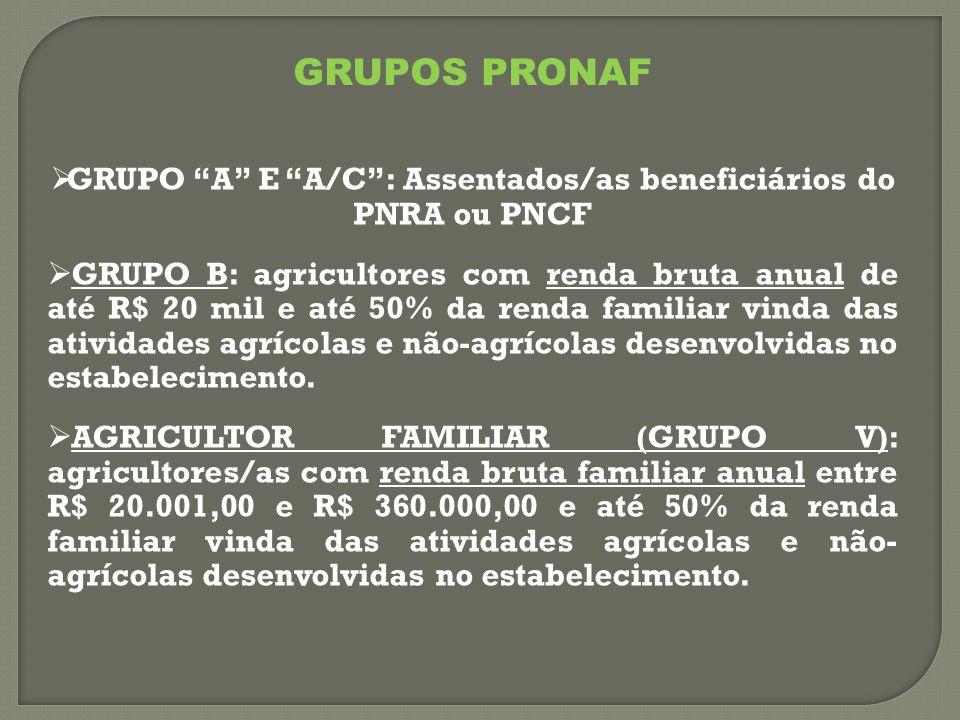  GRUPO A E A/C : Assentados/as beneficiários do PNRA ou PNCF  GRUPO B: agricultores com renda bruta anual de até R$ 20 mil e até 50% da renda familiar vinda das atividades agrícolas e não-agrícolas desenvolvidas no estabelecimento.