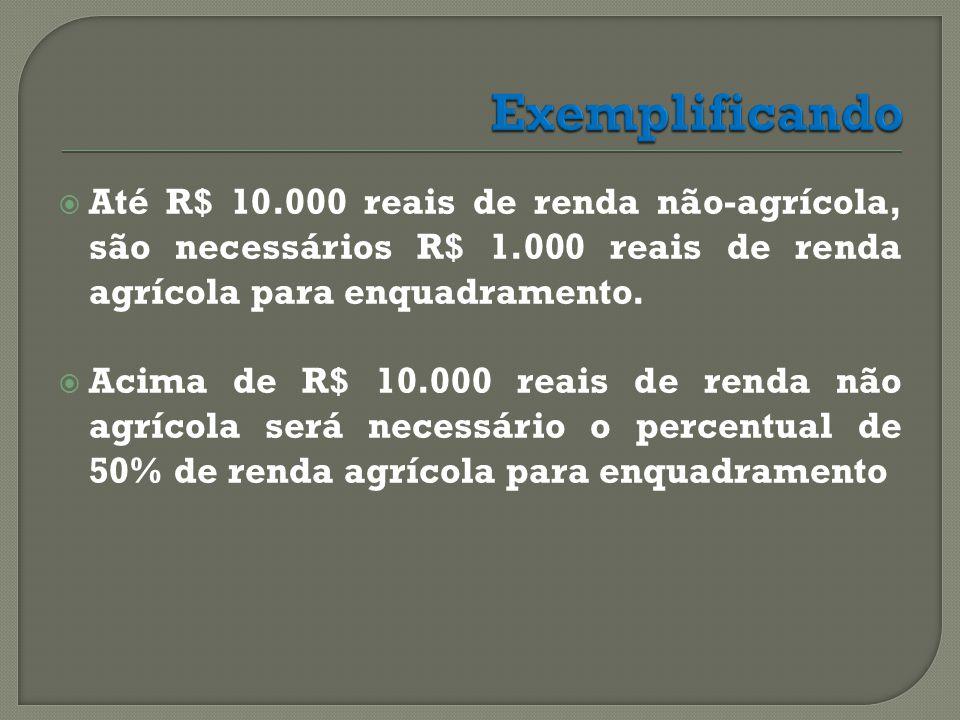  Até R$ 10.000 reais de renda não-agrícola, são necessários R$ 1.000 reais de renda agrícola para enquadramento.
