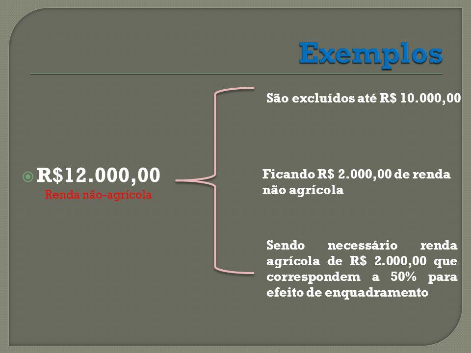  R$12.000,00 Renda não-agrícola São excluídos até R$ 10.000,00 Ficando R$ 2.000,00 de renda não agrícola Sendo necessário renda agrícola de R$ 2.000,00 que correspondem a 50% para efeito de enquadramento