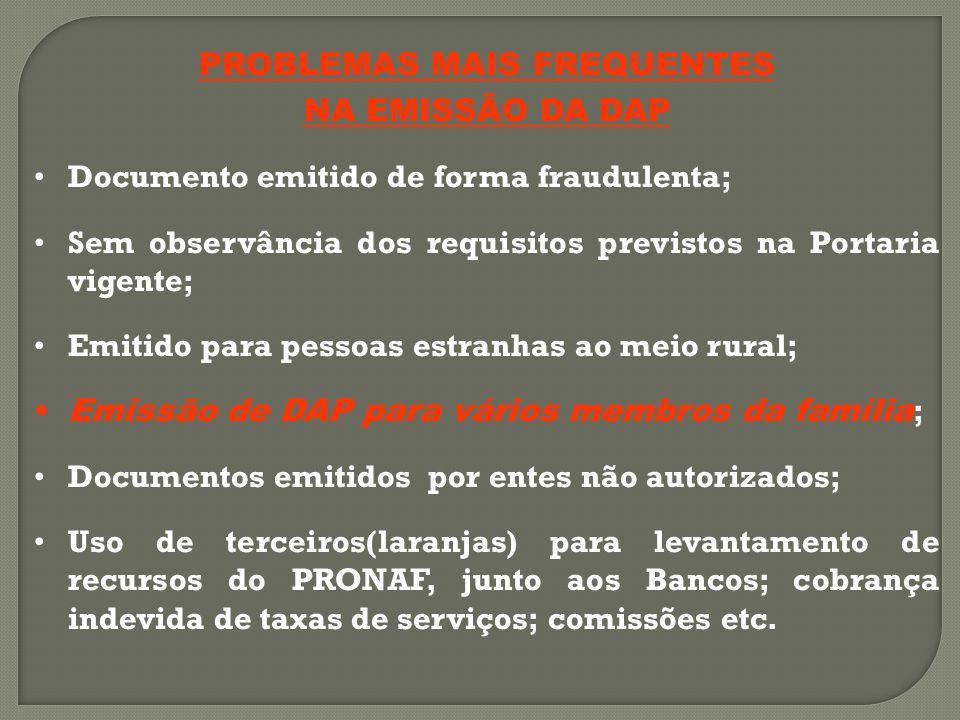 PROBLEMAS MAIS FREQUENTES NA EMISSÃO DA DAP Documento emitido de forma fraudulenta; Sem observância dos requisitos previstos na Portaria vigente; Emitido para pessoas estranhas ao meio rural; Emissão de DAP para vários membros da família ; Documentos emitidos por entes não autorizados; Uso de terceiros(laranjas) para levantamento de recursos do PRONAF, junto aos Bancos; cobrança indevida de taxas de serviços; comissões etc.