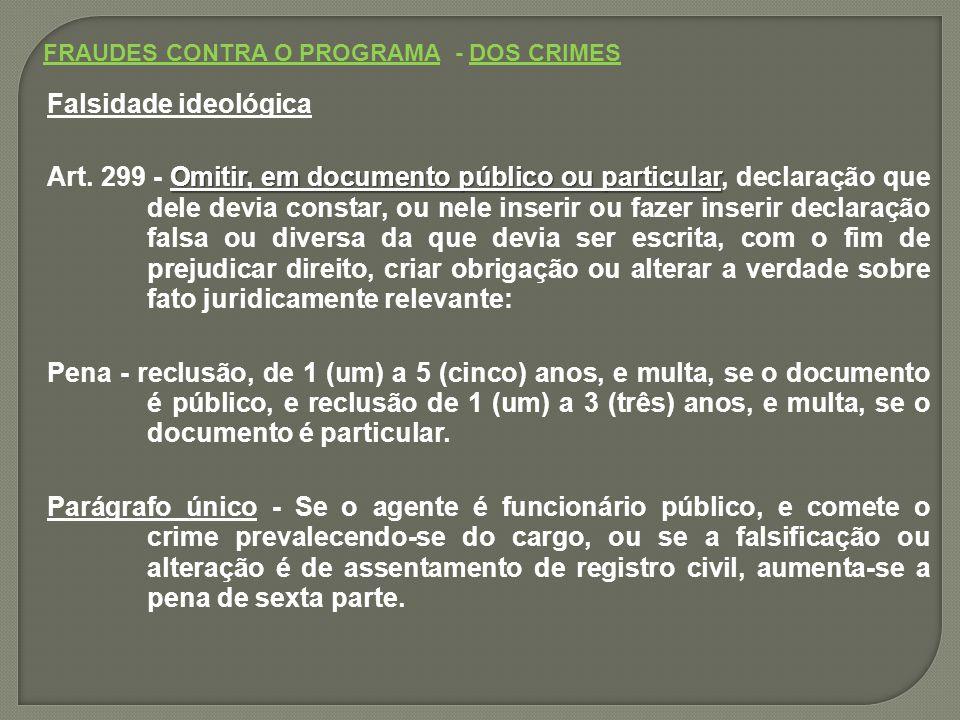 FRAUDES CONTRA O PROGRAMA - DOS CRIMES Falsidade ideológica Omitir, em documento público ou particular Art.