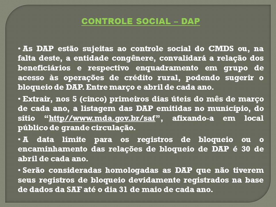 CONTROLE SOCIAL – DAP As DAP estão sujeitas ao controle social do CMDS ou, na falta deste, a entidade congênere, convalidará a relação dos beneficiários e respectivo enquadramento em grupo de acesso às operações de crédito rural, podendo sugerir o bloqueio de DAP.