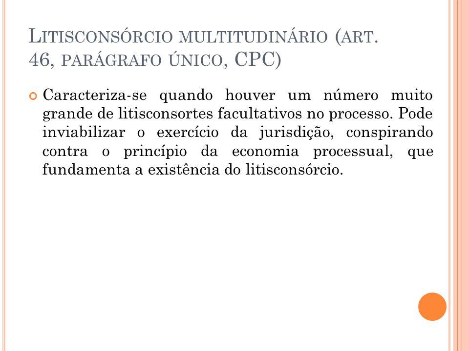 L ITISCONSÓRCIO MULTITUDINÁRIO ( ART. 46, PARÁGRAFO ÚNICO, CPC) Caracteriza-se quando houver um número muito grande de litisconsortes facultativos no