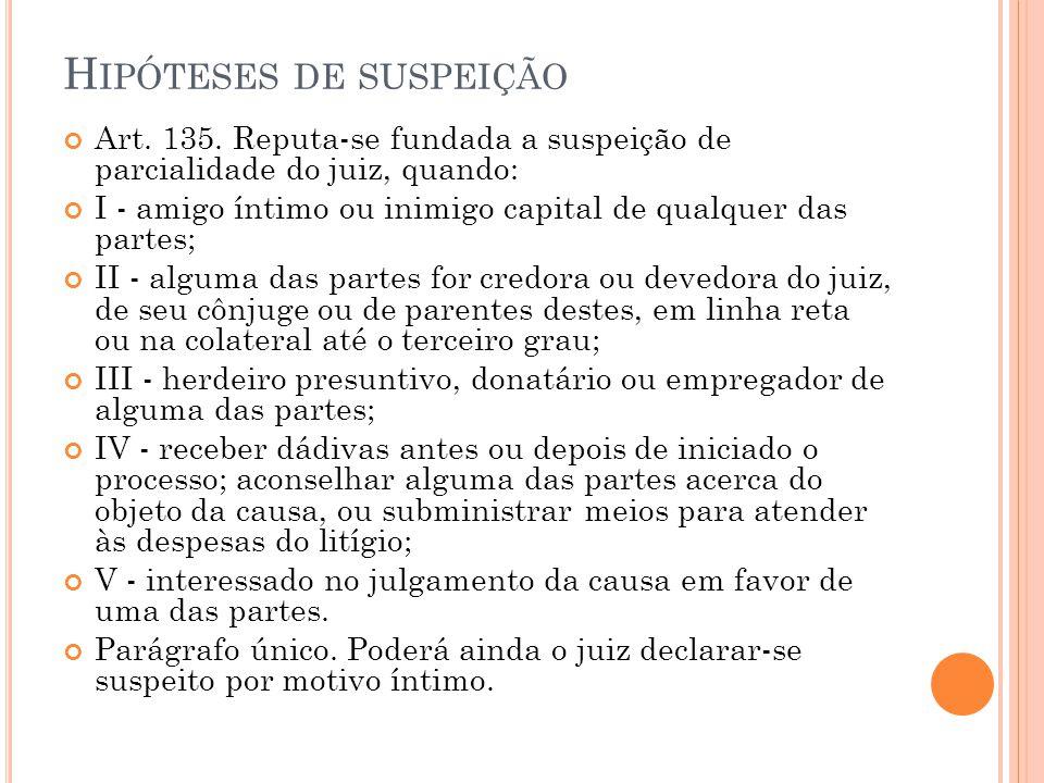 H IPÓTESES DE SUSPEIÇÃO Art. 135. Reputa-se fundada a suspeição de parcialidade do juiz, quando: I - amigo íntimo ou inimigo capital de qualquer das p
