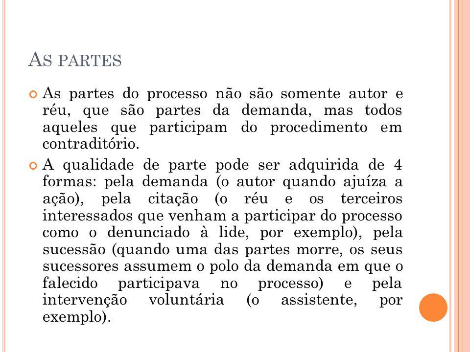 A S PARTES As partes do processo não são somente autor e réu, que são partes da demanda, mas todos aqueles que participam do procedimento em contradit