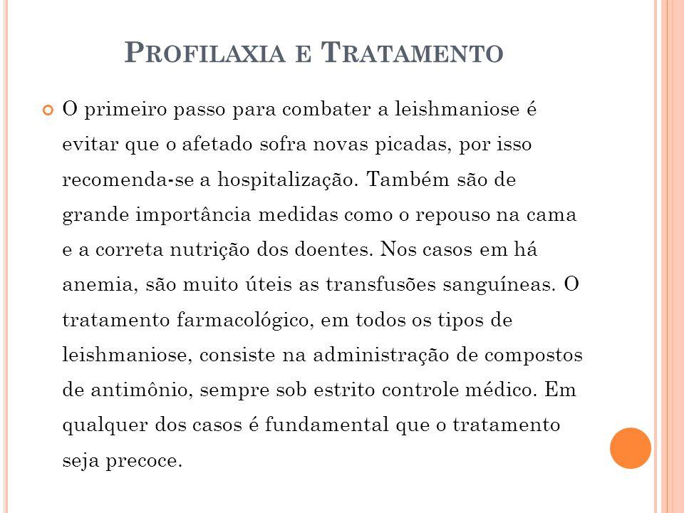 P ROFILAXIA E T RATAMENTO O primeiro passo para combater a leishmaniose é evitar que o afetado sofra novas picadas, por isso recomenda-se a hospitaliz
