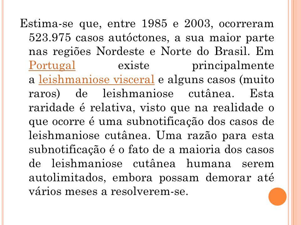 Estima-se que, entre 1985 e 2003, ocorreram 523.975 casos autóctones, a sua maior parte nas regiões Nordeste e Norte do Brasil. Em Portugal existe pri