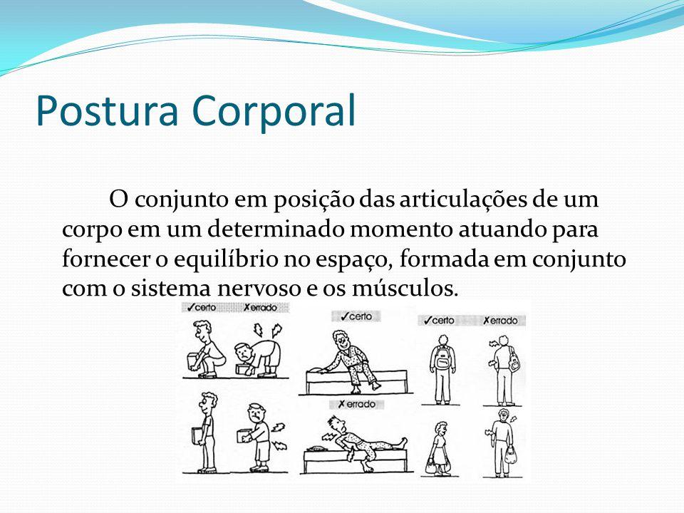 Postura Corporal O conjunto em posição das articulações de um corpo em um determinado momento atuando para fornecer o equilíbrio no espaço, formada em