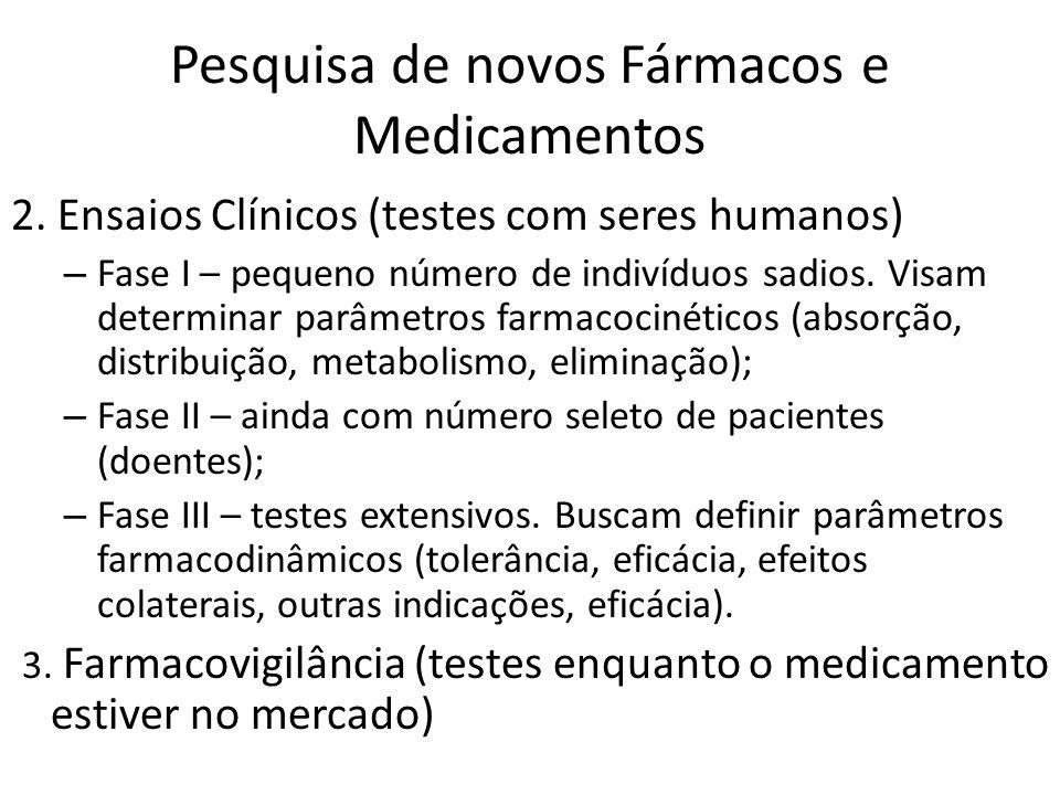 Pesquisa de novos Fármacos e Medicamentos 2. Ensaios Clínicos (testes com seres humanos) – Fase I – pequeno número de indivíduos sadios. Visam determi
