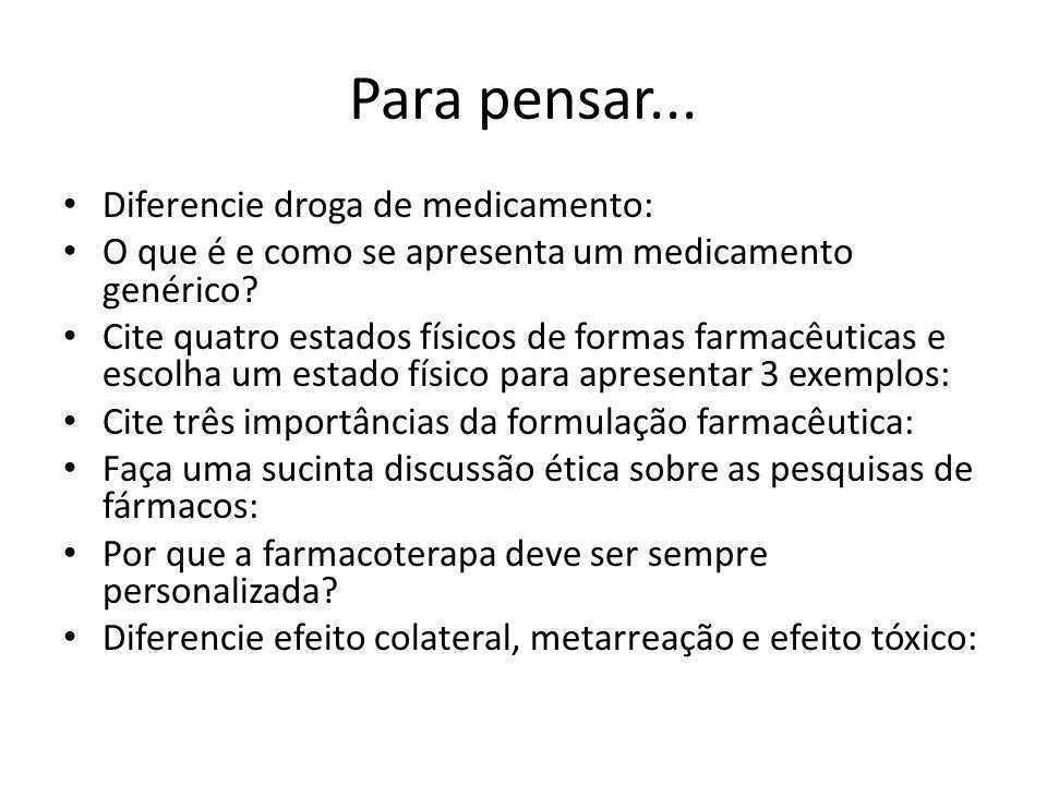 Para pensar... Diferencie droga de medicamento: O que é e como se apresenta um medicamento genérico? Cite quatro estados físicos de formas farmacêutic