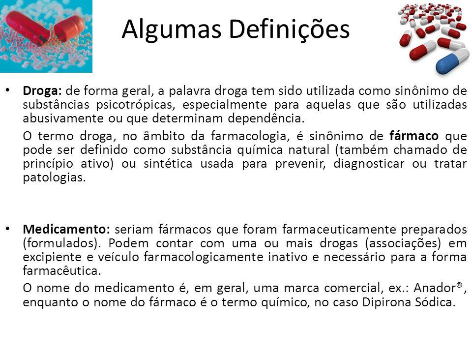 Algumas Definições Droga: de forma geral, a palavra droga tem sido utilizada como sinônimo de substâncias psicotrópicas, especialmente para aquelas qu