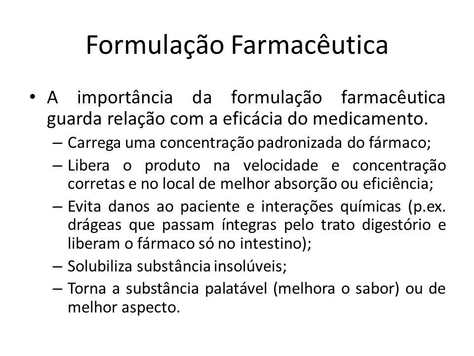 Formulação Farmacêutica A importância da formulação farmacêutica guarda relação com a eficácia do medicamento. – Carrega uma concentração padronizada